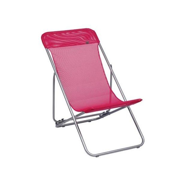 Chaise longue pliante transatube lafuma framboise for Chaise longue pliante matelassee