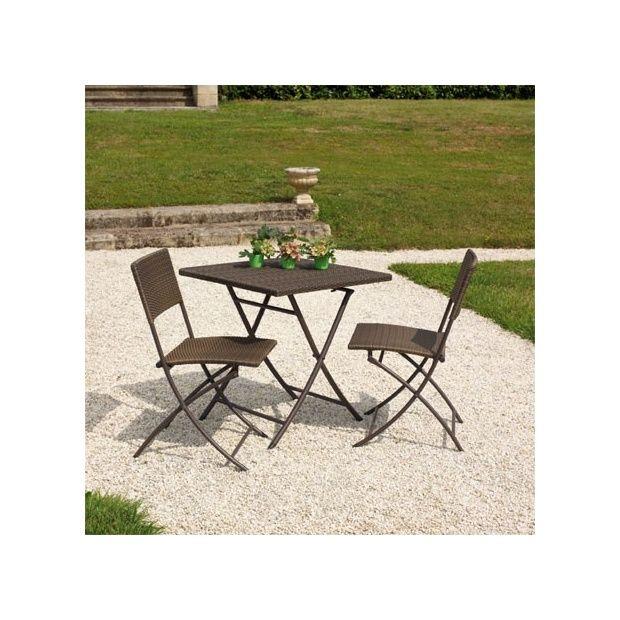 salon de jardin 2 pers r sine tress e marron gu ridon table 70x70 pliante 2 chaises dolly. Black Bedroom Furniture Sets. Home Design Ideas