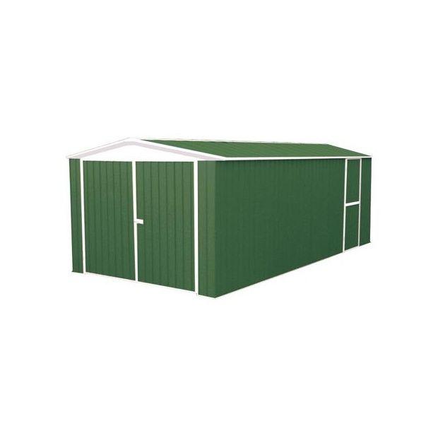 garage en m tal de 18 m hors tout absco coloris vert. Black Bedroom Furniture Sets. Home Design Ideas