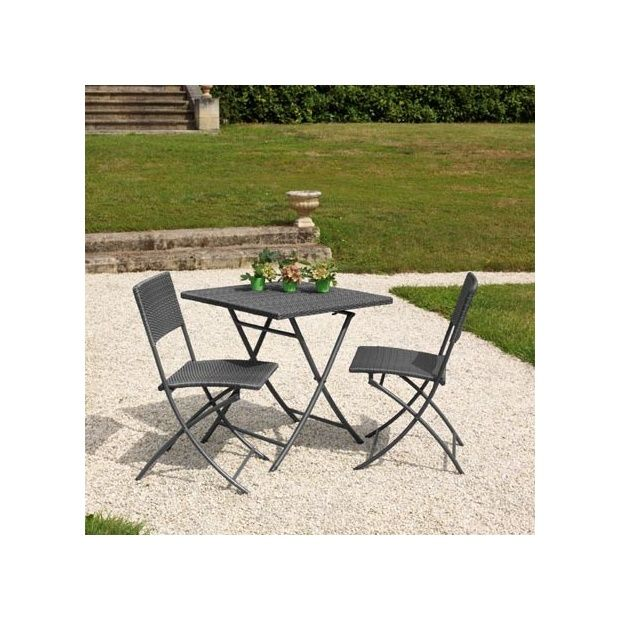 salon de jardin 2 pers r sine tress e gris gu ridon table 70x70 pliante 2 chaises dolly. Black Bedroom Furniture Sets. Home Design Ideas