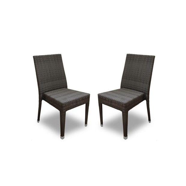 Chaise de jardin freiburg empilable en r sine tress e - Chaise resine tressee ...