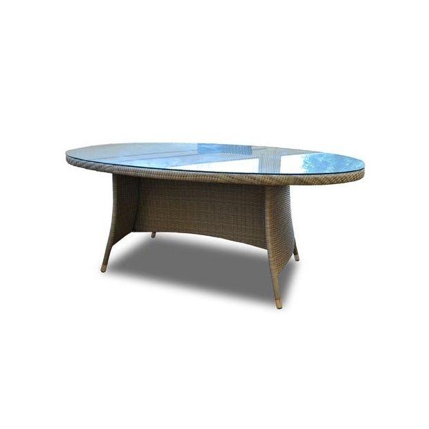Table ovale belfort en r sine tress e plateau en verre tremp gris 10 p - Plateau en verre trempe ...