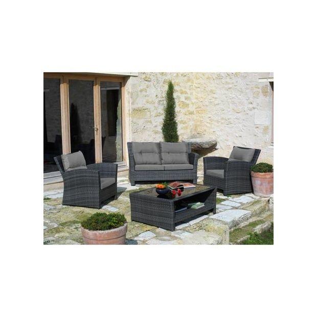 Salon de jardin 5 places en r sine tress e gris canap 3 - Salon de jardin 5 places ...