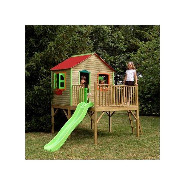 Maisonnette pour enfants avec cabane et toboggan aurore soulet plantes et jardins - Cabane enfant toboggan ...