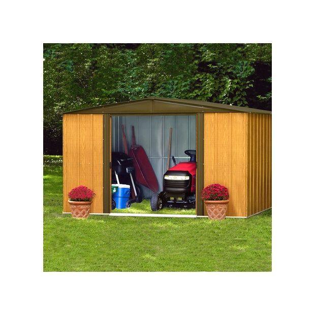 abri de jardin en acier galvanis imitation bois 4 58 m hors tout plantes et jardins. Black Bedroom Furniture Sets. Home Design Ideas