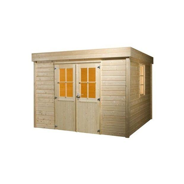 Abri de jardin toit plat bois massif 28mm plantes et jardins - Abri jardin toit plat m creteil ...