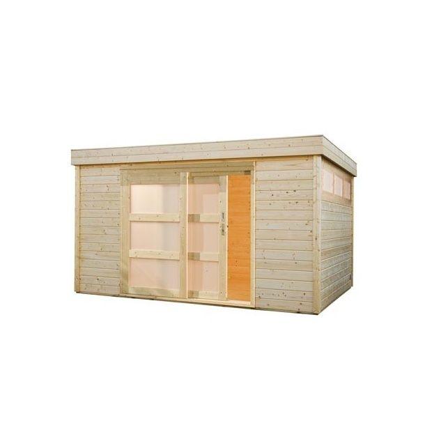 Abri de jardin toit plat m2 bois massif 28mm plantes et jardins - Abri jardin toit plat m creteil ...