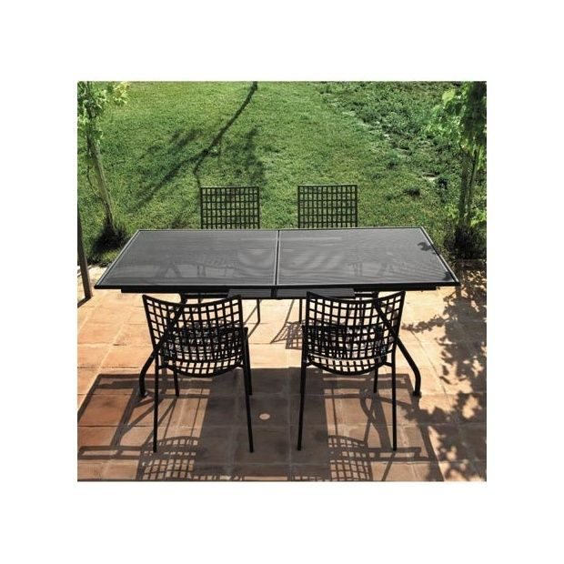 Table De Jardin Ronde Carrelee : Salon de jardin 4 places en acier 1 table extensible Piano + 4