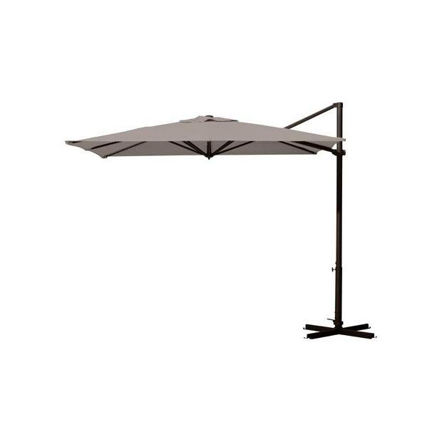 Parasol d port carr 260x260cm inclinable et orientable riviera taupe plantes et jardins - Parasol deporte orientable et inclinable ...