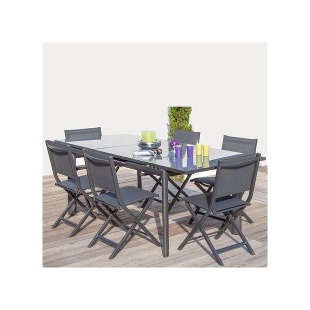 salon 6 personnes 6 chaises pliantes thema grises table avec rallonge miami grise plantes. Black Bedroom Furniture Sets. Home Design Ideas