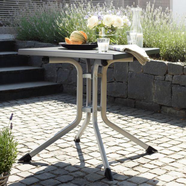 Table de jardin pliante résine Kettler L70 l70 cm argent/gris ...