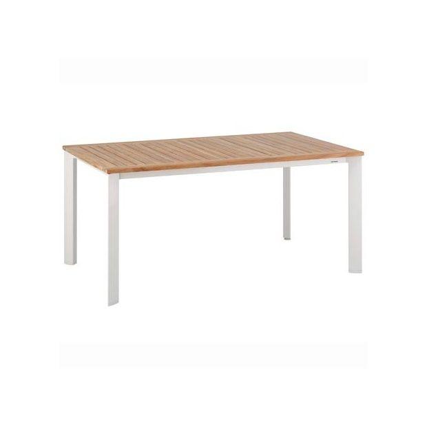 table en teck et aluminium 160 x 95 cm blanc nature kettler plantes et jardins. Black Bedroom Furniture Sets. Home Design Ideas