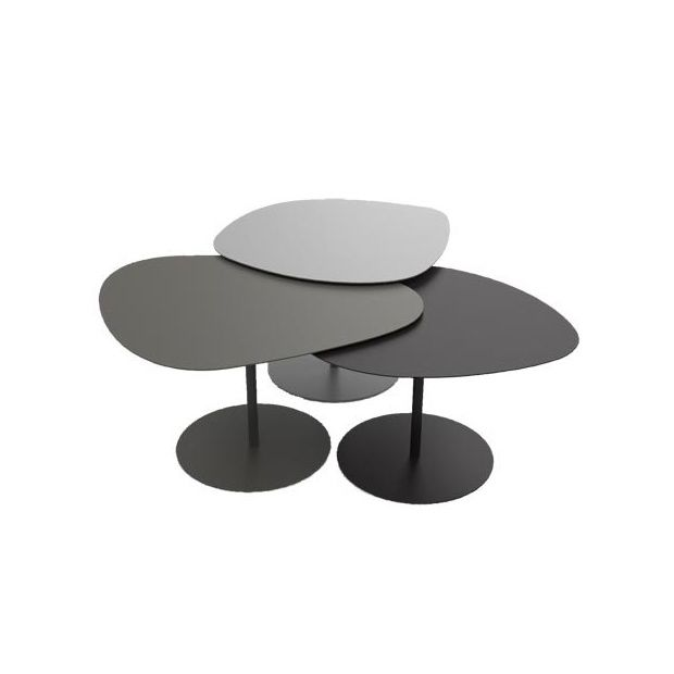 table basse gigogne 3 galets gris taupe noir plantes et jardins. Black Bedroom Furniture Sets. Home Design Ideas