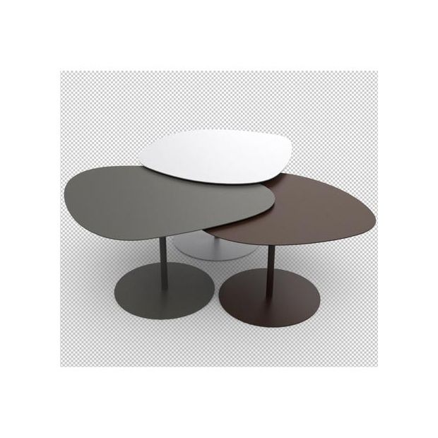 tables basses gigognes 3 galets blanc taupe marron. Black Bedroom Furniture Sets. Home Design Ideas