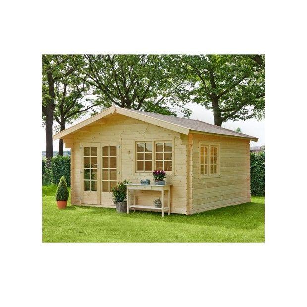 Abri de jardin marius en bois 15 2 m 44 mm avec for Abri de jardin avec plancher