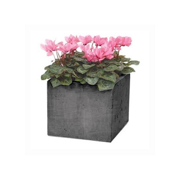 bac carr en fibre de terre gris ciment fonc l25 h25 plantes et jardins. Black Bedroom Furniture Sets. Home Design Ideas