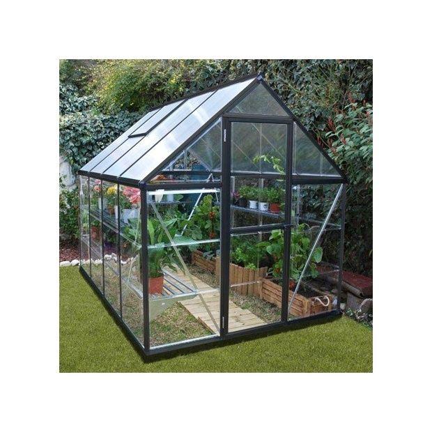 Serre de jardin victorienne gris anthracite en for Bordure jardin gris anthracite