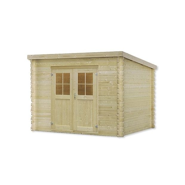 Abri de jardin mono pente 9,7 m2 bois 28 mm PEFC double porte ...