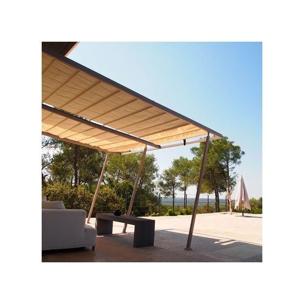 tonnelle adoss e aluminium acier 4x4 m toile coulissante boston taupe plantes et jardins. Black Bedroom Furniture Sets. Home Design Ideas