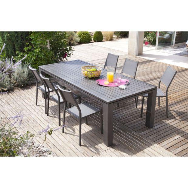 Table de jardin fiero aluminium l180 l103 cm ice plantes - Salon de jardin oceo aluminium fiero ...
