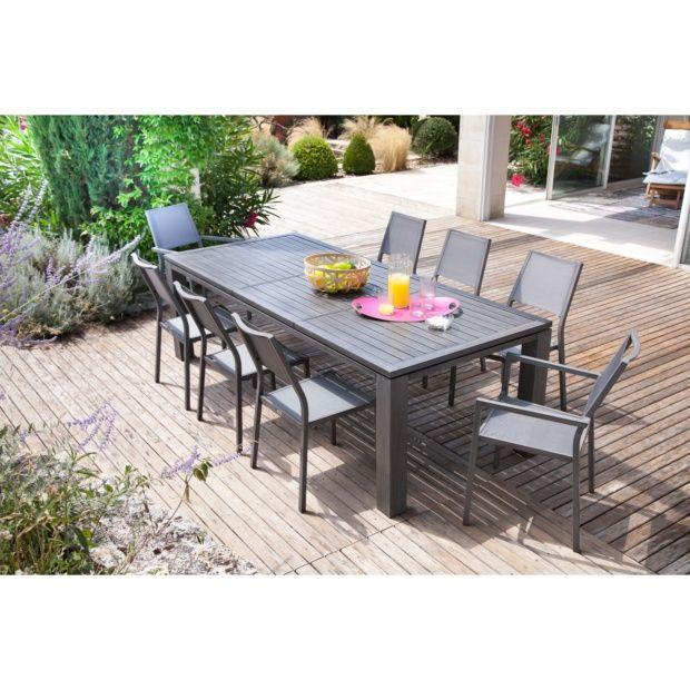 Table De Jardin Fiero Aluminium L180 240 L103 Cm Argent Plantes Et Jardins