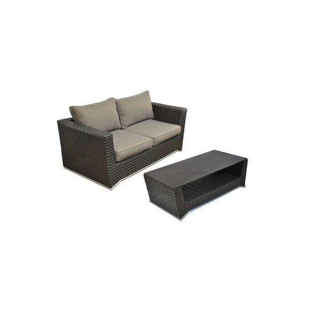 canap 2 places nuoro et table basse en aluminium et. Black Bedroom Furniture Sets. Home Design Ideas
