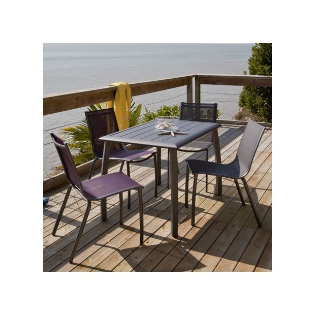 Salon de jardin gris anthracite pvc for Petite table de jardin pvc