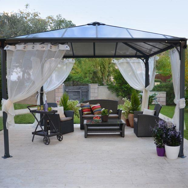 tonnelle en aluminium couv 39 terrasse 3 6 x 3 6 m chalet jardin toiture polycarbonate. Black Bedroom Furniture Sets. Home Design Ideas