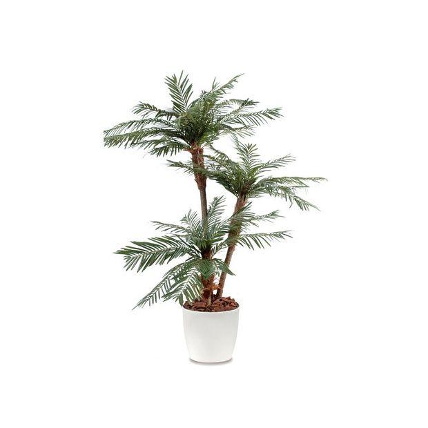 palmier 3 troncs h200cm tronc semi naturel feuillage artificiel pot elho blanc plantes et. Black Bedroom Furniture Sets. Home Design Ideas