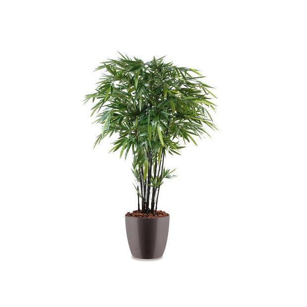 Bambou cannes noires h180cm tronc naturel feuillage artificiel pot elho gris plantes et - Tronc de bambou decoratif ...