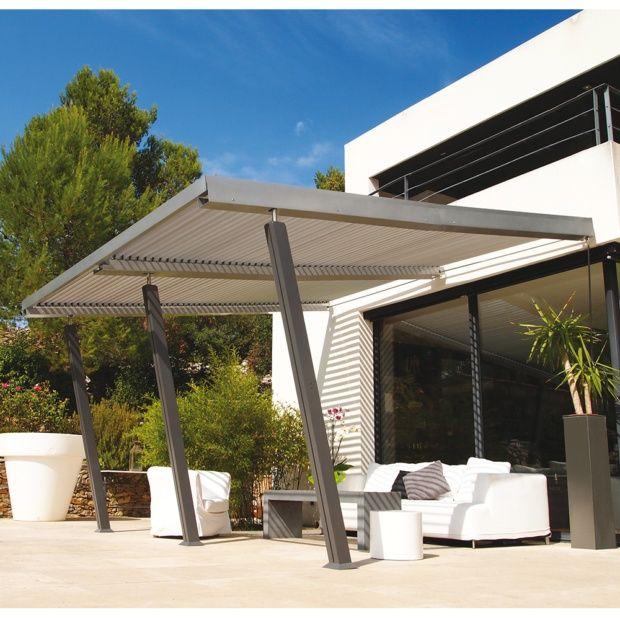 tonnelle adoss e aluminium 4x4 m lames orientables. Black Bedroom Furniture Sets. Home Design Ideas