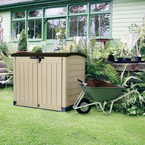 Coffre de jardin r sine arc 1200l beige plantes et jardins - Coffre de jardin truffaut ...