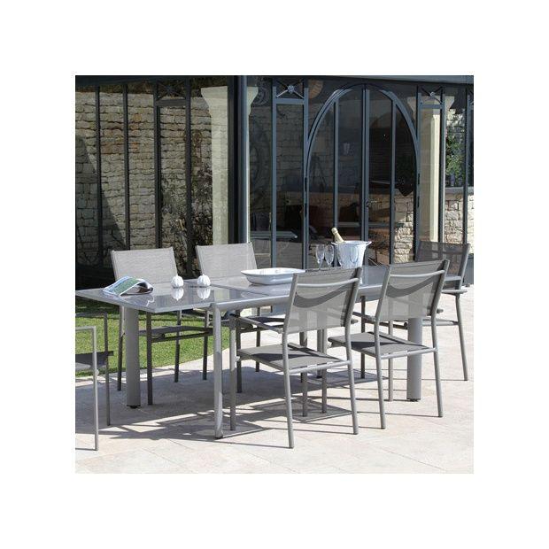 Salon de jardin table rectangulaire messina gris 160 230 for Salon jardin naterial