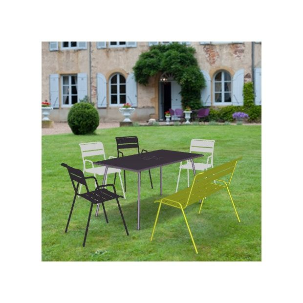 salon de jardin fermob monceau table l146 l80cm 4 chaises 1 banc plantes et jardins. Black Bedroom Furniture Sets. Home Design Ideas