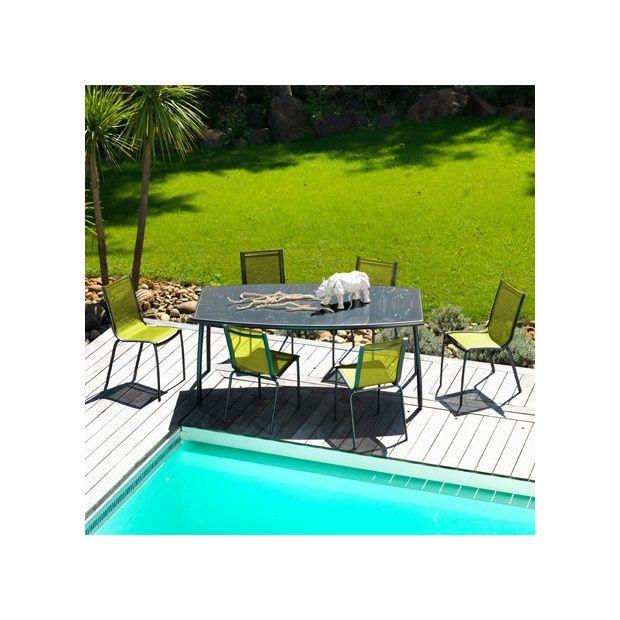 Salon de jardin linea table l200 l105 cm 6 chaises for Salon de jardin 200 euros