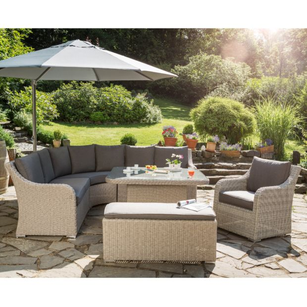 Salon de jardin r sine madrid kettler canap table for Jardin 8 piece dining set