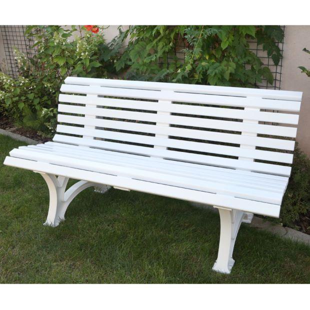 Banc r sine neptune l150 cm blanc plantes et jardins - Banc exterieur resine ...