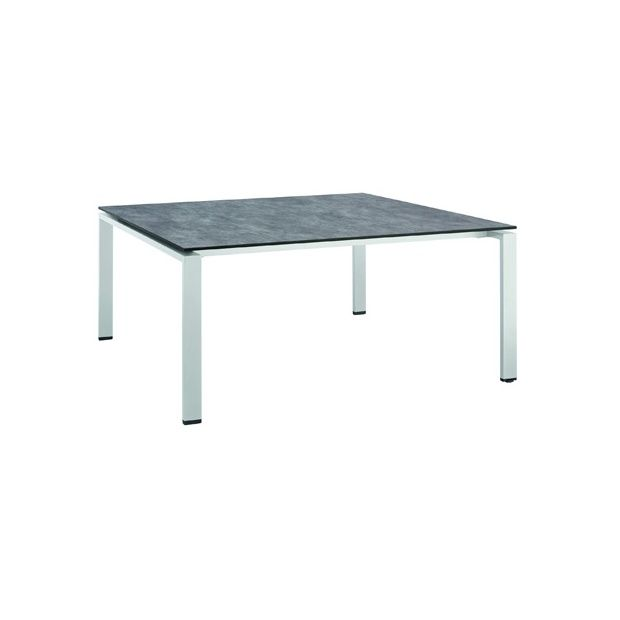 table hpl effet b ton bross 150 x 150 cm argent gris. Black Bedroom Furniture Sets. Home Design Ideas