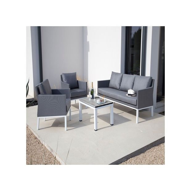 set canap et table basse oslo blanc grain mat proloisirs plantes et jardins. Black Bedroom Furniture Sets. Home Design Ideas