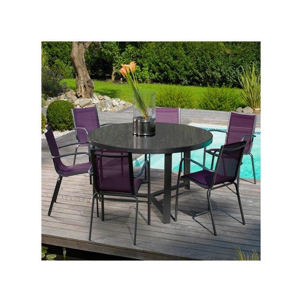 Salon de jardin table brecia grise 6 fauteuils linea for Salon jardin naterial