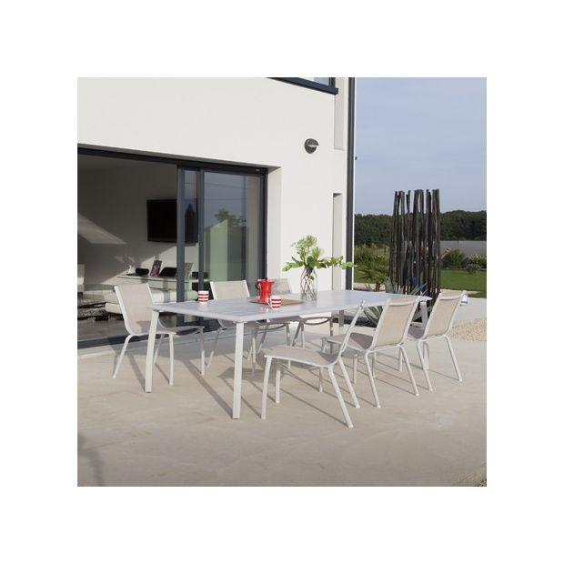 Salon De Jardin Lounge Linea ~ Salon de jardin  Table Azuro l225 L100 cm + 6 chaises Linea lin