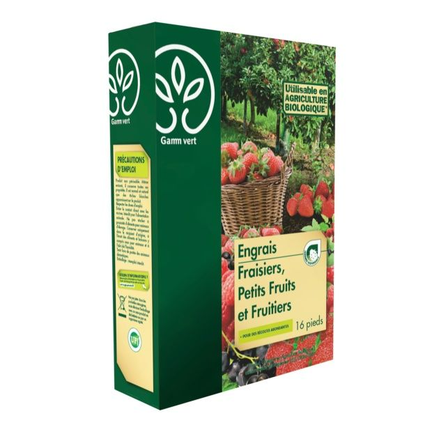 engrais fraisiers et petits fruits 800g - gamm vert - plantes et