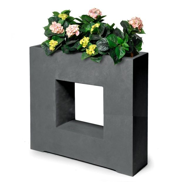 bac fleurs design fibre de terre l68 h69 cm anthracite plantes et jardins. Black Bedroom Furniture Sets. Home Design Ideas
