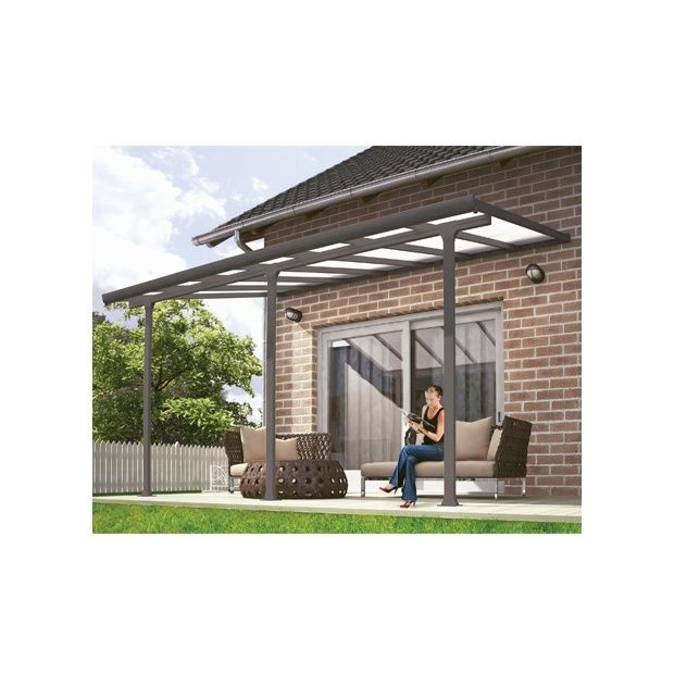 pergola toit terrasse aluminium et polycarbonate 4x3 m gris plantes et jardins. Black Bedroom Furniture Sets. Home Design Ideas