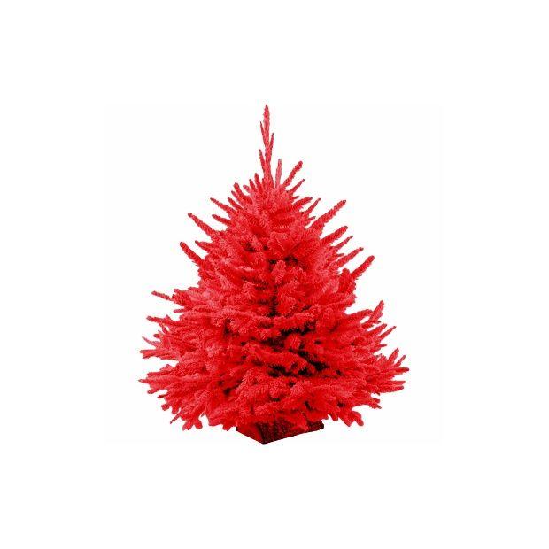 sapin de no l nordmann floqu rouge 50 70 cm livraison incluse plantes et jardins. Black Bedroom Furniture Sets. Home Design Ideas