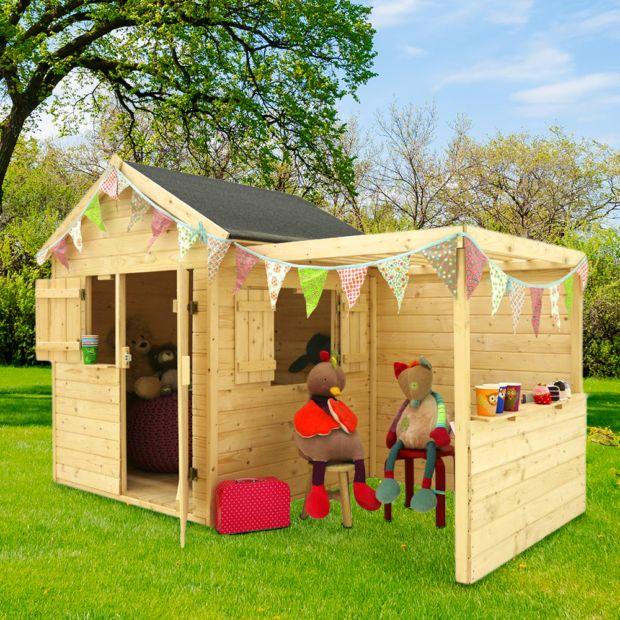 Maisonnette enfant bois alpaga avec pergola plantes et - Maisonnette de jardin enfant ...
