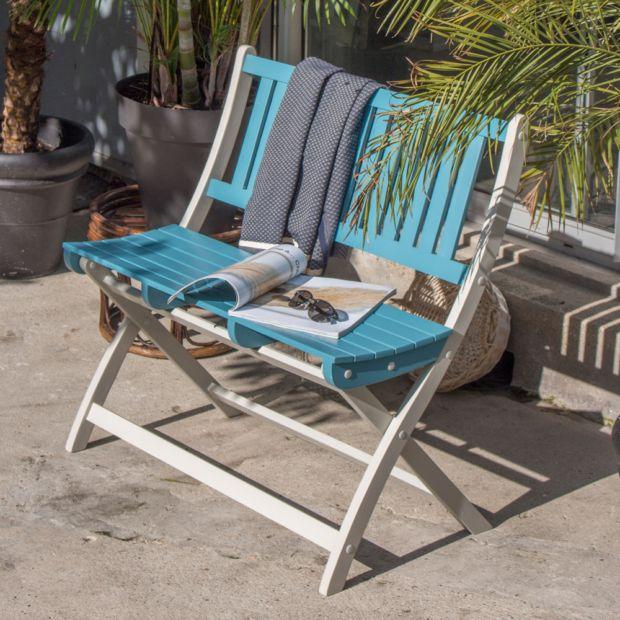 banc pliant city green burano bois 2 3 places bleu plantes et jardins. Black Bedroom Furniture Sets. Home Design Ideas