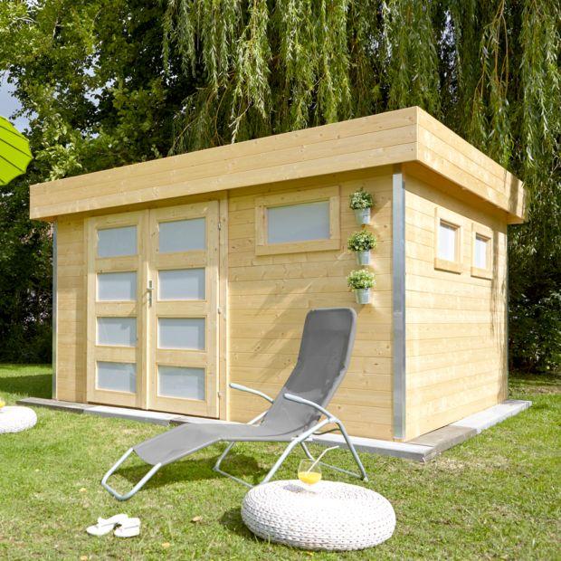 Abri de jardin bois 12 8 m ep 28 mm toit plat comfy plantes et jardins - Abri jardin toit plat m creteil ...