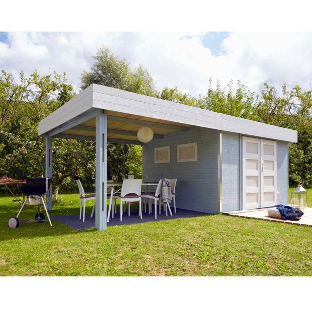 Abri de jardin bois toit plat auvent m ep 28 mm lounj plantes et jardins - Abri jardin toit plat m creteil ...