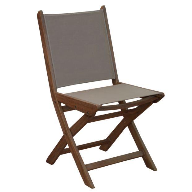Lot de 2 chaises pliantes theria bois toile taupe for Chaise longue bois et toile